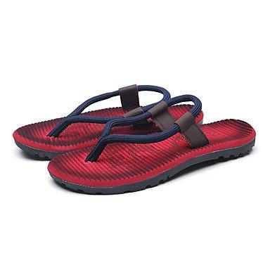 SHOES-XJIH&Uomini sandali di convergenza della luce ad anello suole similpelle Estate Casual tacco piatto kaki marrone chiaro appartamento blu,Kaki,US10 / EU43 / UK9 / CN44
