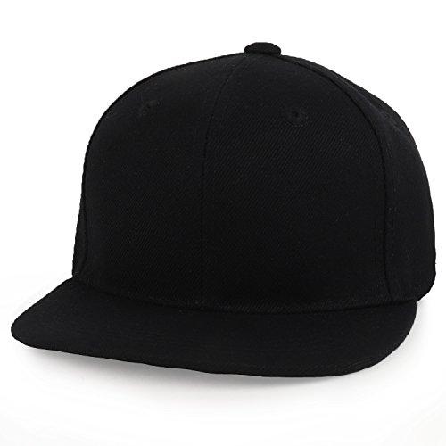 (Trendy Apparel Shop Infant to Toddler Kid's Plain Structured Flatbill Snapback Cap - Black)
