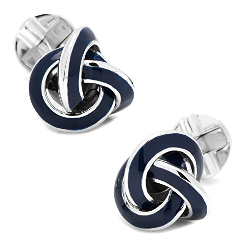 Ravi Ratan Mens Sterling Blue Enamel Knot Cufflinks