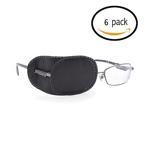 FCAROLYN 6pcs Eye Patch for Glasses to Treat Lazy Eye / Amblyopia / Strabismus,Black