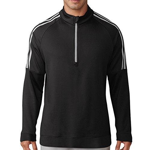 Adidas Golf 2018 Mens 3-Stripes ¼ Zip Golf SweatShirt Black Medium (Zip Quarter Pullover Adidas)