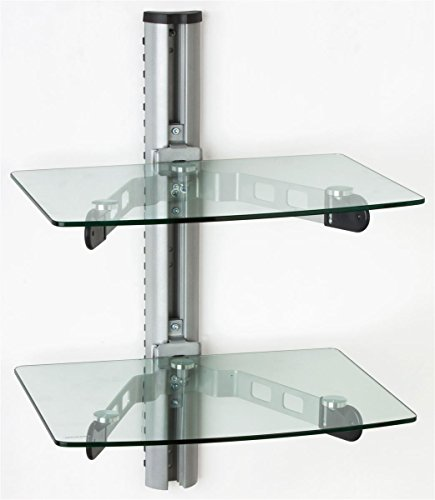 Displays2go DWMS60SHCL Wall Mount Glass Shelves, Tempered Glass Component Displays with Metal Mounting Bracket - Shelving Units Include Hardware (Shelving For Glasses compare prices)