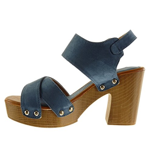 Angkorly - Zapatillas de Moda Sandalias Mules zapatillas de plataforma abierto mujer tanga tachonado madera Talón Tacón ancho alto 9.5 CM - Azul