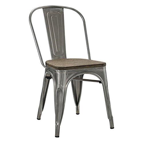 LexMod Promenade Side Chair, Gun - Metal Bistro Chairs