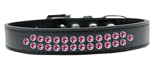Mirage Pet Products Two Row Bright Pink Crystal Black Dog Collar, Size 20 by Mirage Pet Products