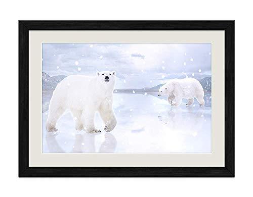 Polar Bear Wood - YENOYE-SM Winter Animal White Polar Bears Snowfall - Picture Art Print Black Wooden Frame Framed Posters Home Deco 20x14in