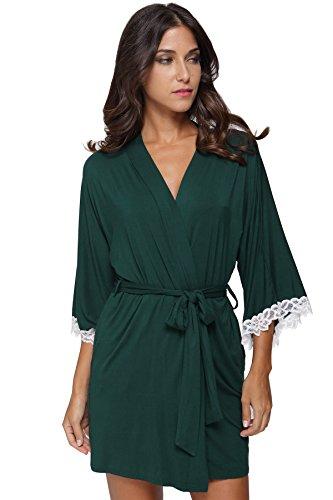 The Bund Women's Short Sleepwear Modal Cotton Knit Robe-Lace Trim, S Dark Green