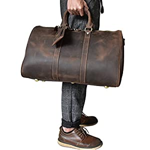 Men's Genuine Leather Travel Duffle Large Cow Leather Weekend Bag Overnight Messenger (Brown2)