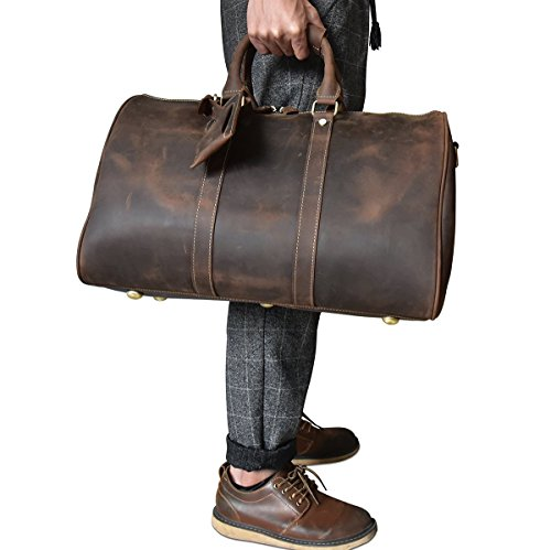 Men's Genuine Leather Travel Duffle Large Cow Leather Weekend Bag Overnight Messenger - Overnight Shipping Free