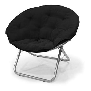 Mainstays Large Microsuede Saucer Chair, Multiple Colors (1, Black) (1, Black) (1, Black)
