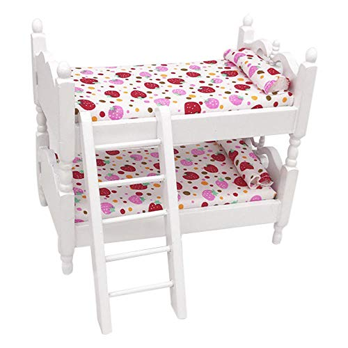 DIGOOD Mini 1:12 Dollhouse Furniture Bed Set Miniature Living Room Kids Pretend Play Toy (Red)