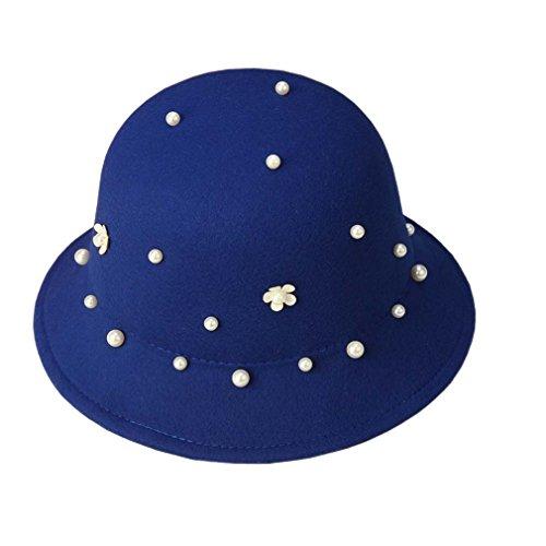 Imitation Hiver Femme Bleu Acvip Automne En Avec Feutre Melon Mode Perle Décoration Drap Chapeau axHqH7wz