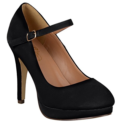 Journee Collection Womens Platform Mary Jane Pumps Black, 8.5 Regular US Suede Mary Jane Platform