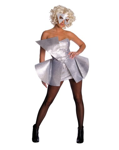 Rubies Costume Co Women's Lady Gaga Sequin Dress Costume Silver One ()