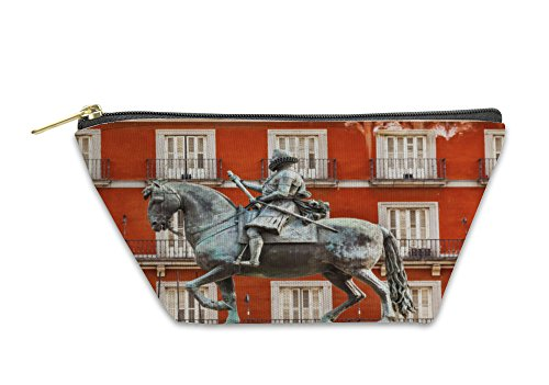Gear New Accessory Zipper Pouch, King Philip Iii Equestrian Statue Plaza Mayor Cityscape Madrid S, Large, - Kings Plaza Store