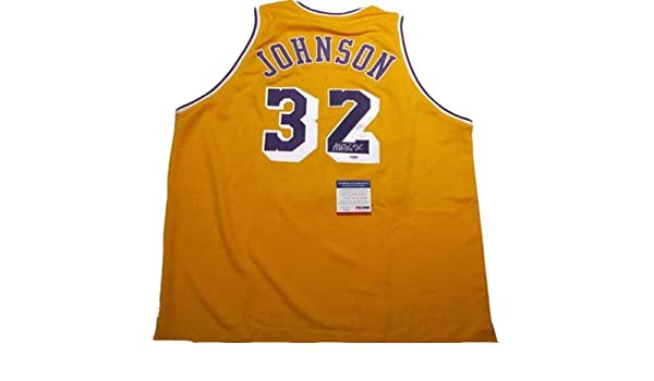 d5257dbce5b Magic Johnson Autographed Signed Lakers Jersey at Amazon s Sports  Collectibles Store