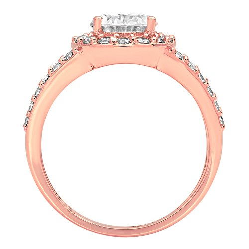 2.14ct Brilliant Oval Cut Designer Halo Solitaire Promise Anniversary Statement Engagement Wedding Bridal Ring For Women Solid 14k Rose Gold, 9 by Clara Pucci (Image #1)