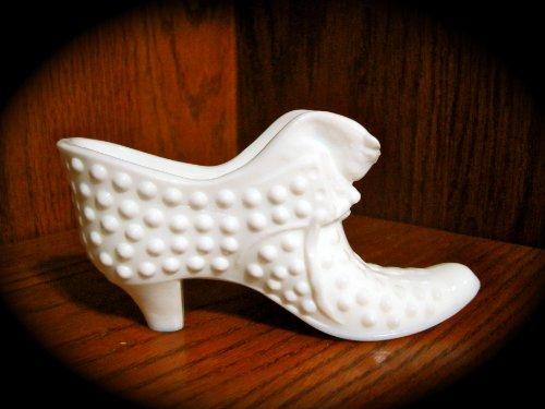 Vintage Fenton Hobnail WHITE Milk Glass Shoe Boot Planter w/ Cat Head (6