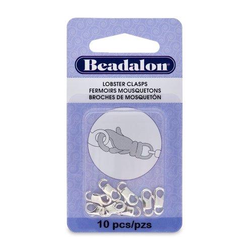 Beadalon EZ-Lobster Clasp 11mm Nickel Free Silver, Plated, 10-Piece