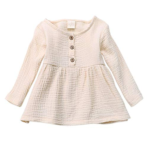 GObabyGO Newborn Infant Baby Girl Outfit Baby Girls Round Neck Long Sleeve Cotton Linen Tops Dresses (Beige, 12-24 Months)