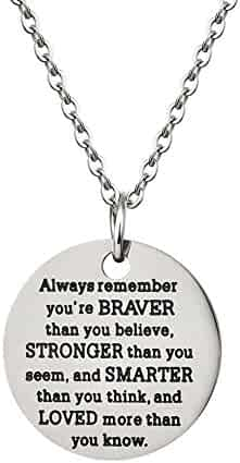AnalysisyLove Inspirational Jewelry Necklace Gift for Women Girls by You Are Braver Stronger Smarter Than You Think