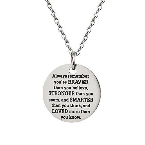 Inspirational Jewelry Necklace Gift for Women Girls by AnalysisyLove - You Are Braver Stronger Smarter Than You (Inspirational Graduation Gifts)