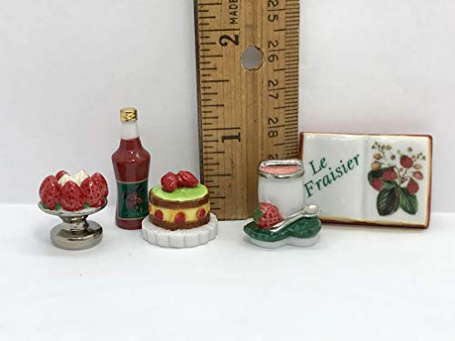5 Tiny Strawberry Desserts Jam Food Book Miniatures Dollhouse Miniature Porcelain French Feves ()
