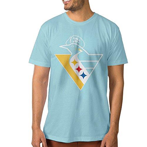 (PTCYM Penguin Ice Hockey King Particular Men's T-shirts XXL SkyBlue)