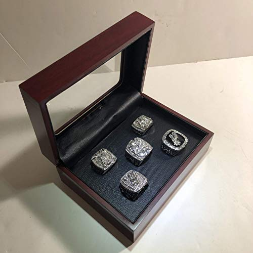 Set of 5 San Antonio Spurs Championship Replica Rings W/Box- Various Sizes Silver Color Collectible Tim Duncan 1999, 2003, 2005, 2007, 2014 USA -