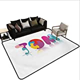 Custom Pattern Floor mat,Children Newborn Themed Colorful Boy Name Design Abstract Educational Puzzle Pattern 6'x8',Can be Used for Floor Decoration
