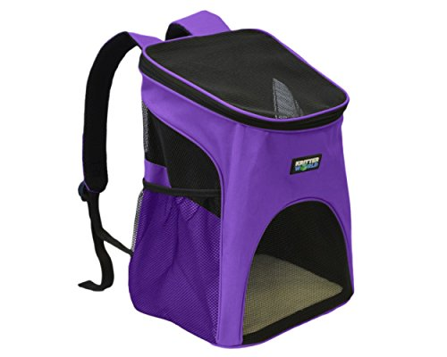 KritterWorld Pet Carrier Backpack Purple, Outdoor Soft-sided Dog Cat Pet Carrier Mesh Pup Pack Travel Backpack Adjustable with Built-in Collar Buckle, Removable Fleece Bed, Sided Pocket