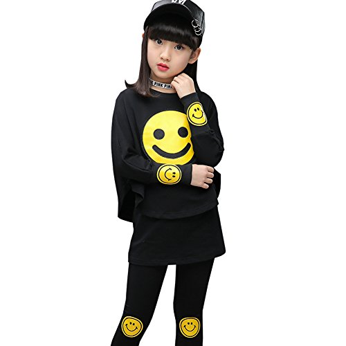 CH&Q Kids Girls Batwing Tracksuit Smiling Face Printing Long Sleeve Sweatshirt+Pantskirt Render Culottes Legging Trousers, Black, 5-6 Years(Tag (Face Jumper Set)