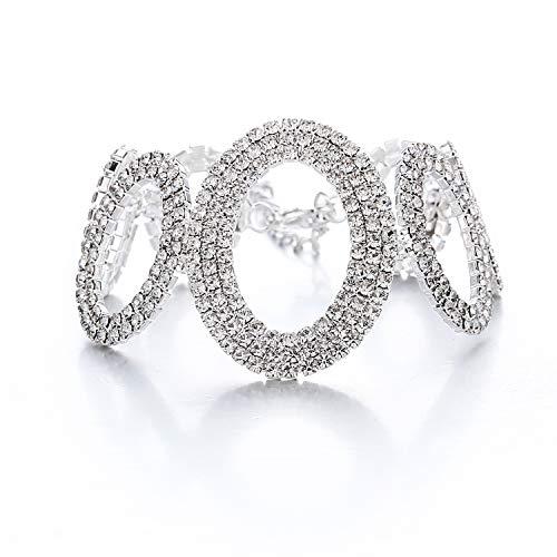 Rhinestone Triple Strand - 17mile Tennis Bracelet Round Link Crystal Rhinestone Boho Bracelet with AAA Clear Cubic Zircon Wedding for Women