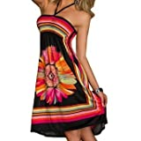 ACVIP Women's Flower Printed Halter Short Beach Dresses
