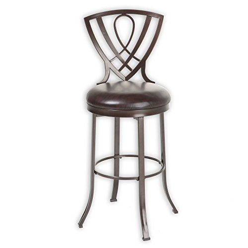 Lincoln Metal Barstool with Chocolate Upholstered Swivel-Seat and Brown Crystal Frame Finish, (Upholstered Metal Swivel Bar)