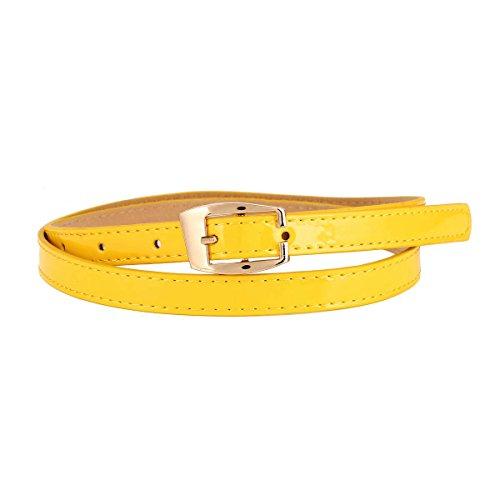 Damara Womens Square Buckle Simplicity Casual Classical Narrow Belt,Yellow
