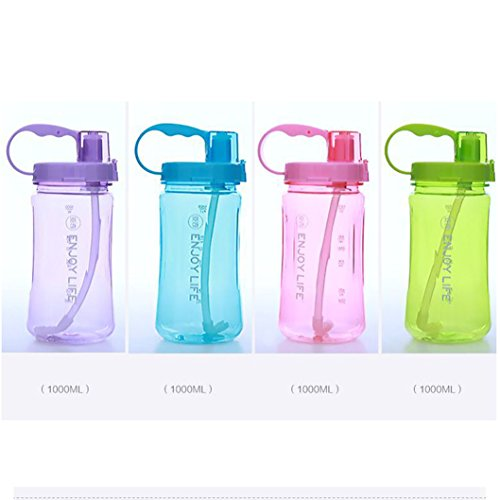 35oz Portable Wide Mouth Big Plastic Bottle Leakproof Space Cup BPA Free Travel Mugs with Scale,Straw,Strap for Kids Adult Summer Outdoor Sports Lonni 1L Sports Water Bottles
