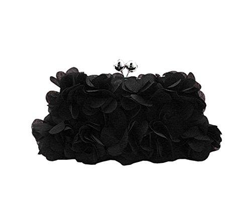 Roses Elégant Décorées Pochette Mariage Noir 4 De Série Chic Femme Heyjewels Soirée Pour Sac Cérémonie Fleurs 0aTUqqIw