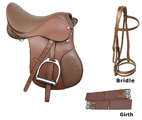English Saddle Package (YOUTH PONY SIZE 12 13 14 ALL PURPOSE ENGLISH BROWN PREMIUM LEATHER CLOSE CONTACT HORSE JUMPING HORSE SADDLE TACK PACKAGE)