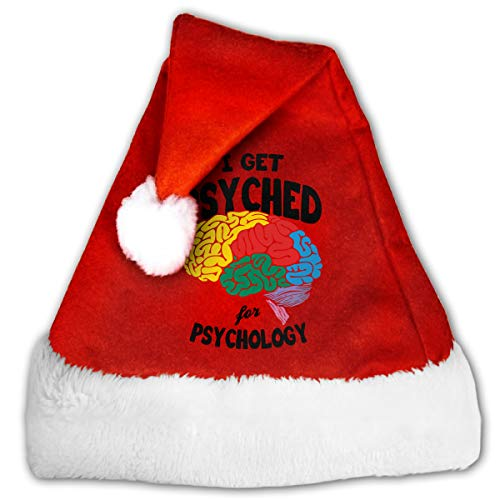 Psychology Themed Halloween Costumes (I Get Psyched for Psychology Christmas Santa Hat for Adults, Traditional Red and White Plush Velvet Party)