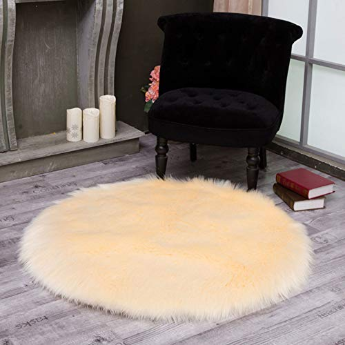 DUANG Faux Fleece Sheepskin Rug 5-6cm Long Area Rugs Fibres Washable 100% Harmless Artificial Fur Wool Non Slip Sofa - Beige Wool 110 Rug