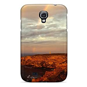 For Galaxy S4 Tpu Phone Case Cover(beautiful Rainbow Over Lighthouse On Sea Cliff)