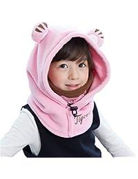 Azarxis Kids Balaclava Ski Mask Full Face Neck Warmer Caps Hat Hood Fleece Wind Protector Cute Animal Windproof Thermal Winter Wear Gear for Boys Girls Children (Pink - Tiger)