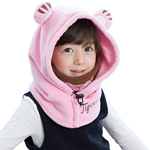 Azarxis Kids Balaclava Ski Mask Full Face Neck Warmer Caps Hat Hood Fleece Wind Protector Cute Animal Windproof Thermal Winter Wear Gear for Boys Girls Children (Pink - Tiger) ()