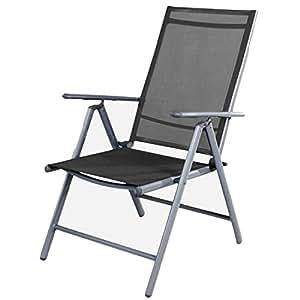 Silla de jardín–Respaldo alto 7posiciones–Posición–Silla plegable–plegable–Resistente a la intemperie–Muebles de Jardín de aluminio–plata/antracita