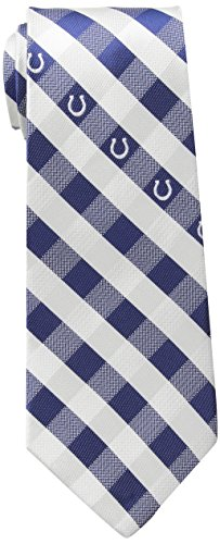 NFL Indianapolis Colts Men's Woven Polyester Check Necktie, One Size, Multicolor