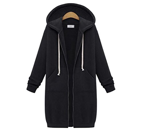 Memorose Womens Winter Casual Zip up Coat Hoodie Cardigan Outwear Jacket Long Sweatshirt (2XL, Black) (Black Long Jumper)