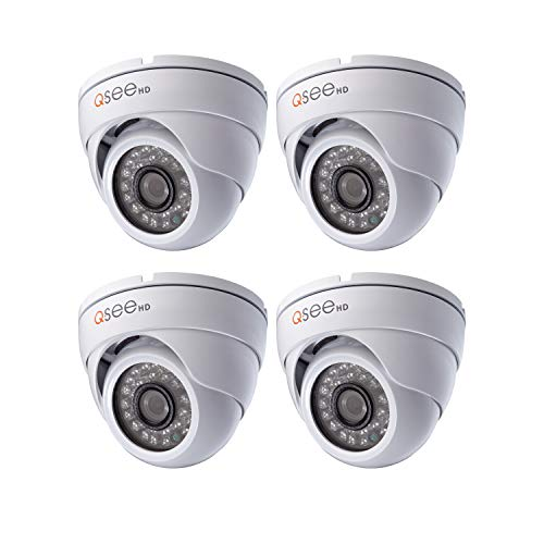 Video Surveillance Q-see - Q-See QTH7213DW-4 Home Security Add-On Cameras 720P Analog HD Dome Security Camera 4 Pack, Night Vision, White