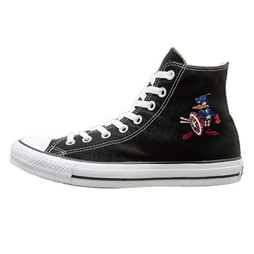 Aiguan Captain Donald Duck Canvas Shoes High Top Design Black Sneakers Unisex Style -