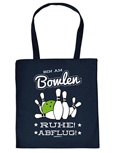 Coole Sporttasche Bowling / Kelgln Motiv : Bin am Bowlen Ruhe ! .. Baumwolltasche - Farbe. navy blau UBYGRT2b